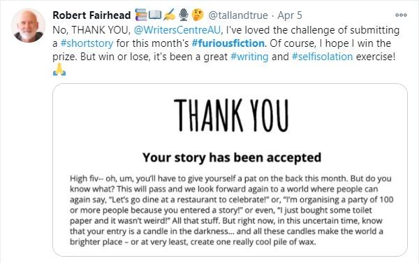 Furious Fiction Thank You - April 2020